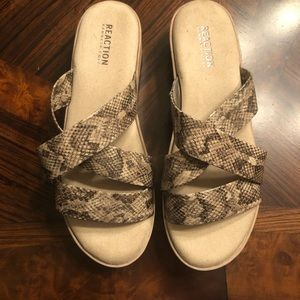 Open toe slip on with wedge heal